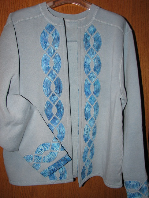Cable Applique Sweatshirt Jacket Project - Punch with Judy